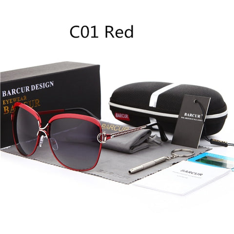 BARCUR Polarized Ladies Sunglasses Women Gradient Lens Round Sun glasses Square Luxury Brand oculos lunette de soleil femme