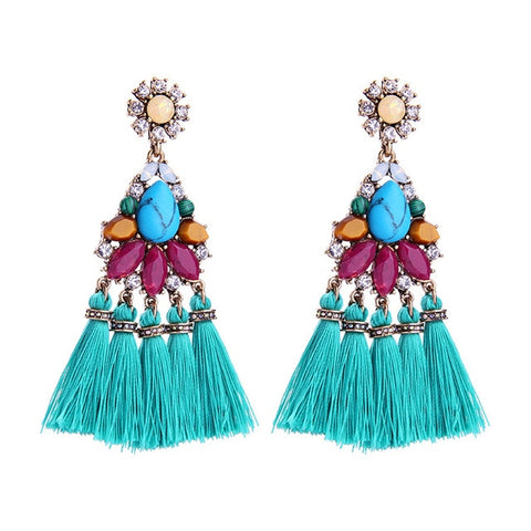 2019 bohemia vintage long tassel gem stone flower earring for women