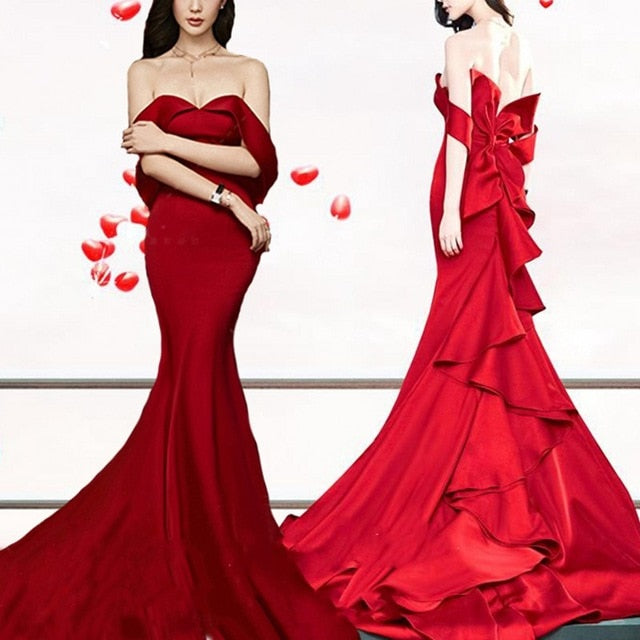 Sexy Tiered Mermaid Evening Dresses Long 2019 Strapless Backless Red Carpet Celebrity Evening Party Dress Big Bow Women Gown