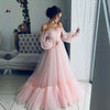 Image of NBS017 Long Sleeves Elegant Pink Evening Dress 2019 Cheap Price Prom Gowns A Line Custom Made Beautiful Girls Party Dress 2019