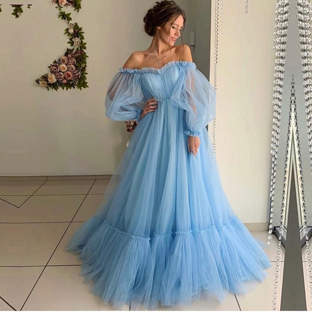 NBS017 Long Sleeves Elegant Pink Evening Dress 2019 Cheap Price Prom Gowns A Line Custom Made Beautiful Girls Party Dress 2019