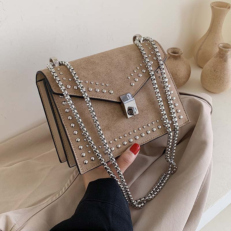 Scrub Leather Small Shoulder Messenger Bags For Women 2020 Chain Rivet Lock Crossbody Bag Female Travel Mini Bags