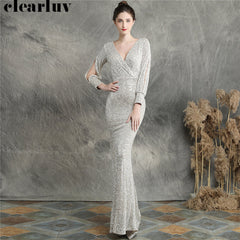 Sequins Women Party Dress DX240-6 2019 New Plus Size Mermaid Prom Dress Robe De Soiree Apricot Silver Long Sleeves Evening Dress