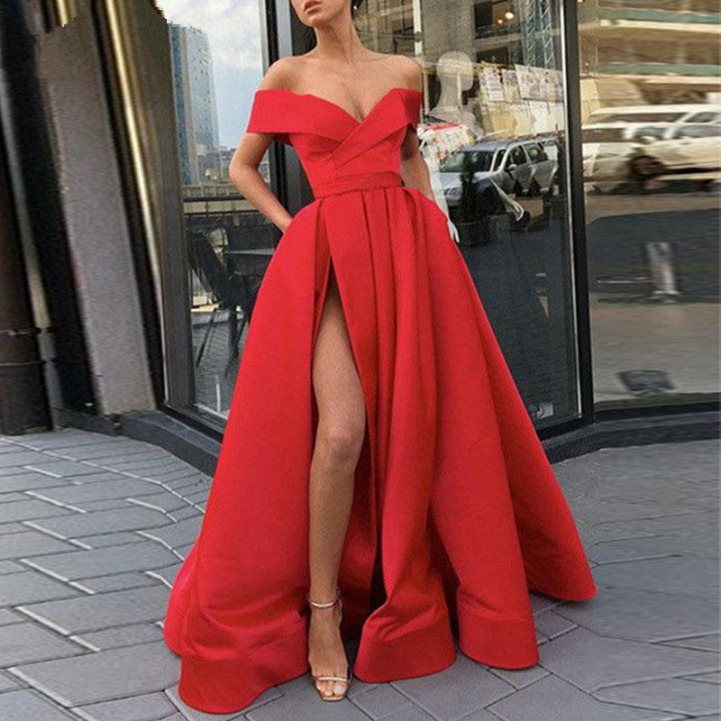 New arrival evening Dresse Formal vestido noiva sereia prom party robe de soiree red gown luxury frock sexy side slit pockets