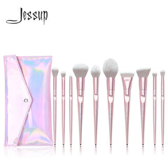 Jessup set Makeup brushes set 10pcs Metallic Pink beauty Make up brush Soft blush Powder Foundation Eyeshadow brush ABS Handle