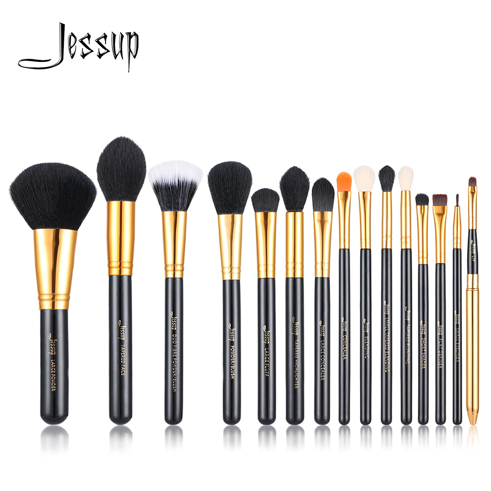 Jessup 15pcs Makeup Brushes brush Set make up Cosmetic beauty Powder Foundation Eyeshadow Eyeliner Lip Brush Tool Black / Gold