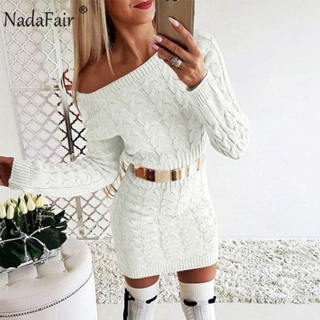 Nadafair Knitted Warm Sweater Dress Women Vestidos Pink Black Bodycon Mini Long Sleeve White Autumn Winter Dress Woman