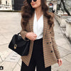 Image of Fashion Autumn Women Plaid Blazers and Jackets Work Office Lady Suit Slim Double Breasted Business Female Blazer Coat Talever