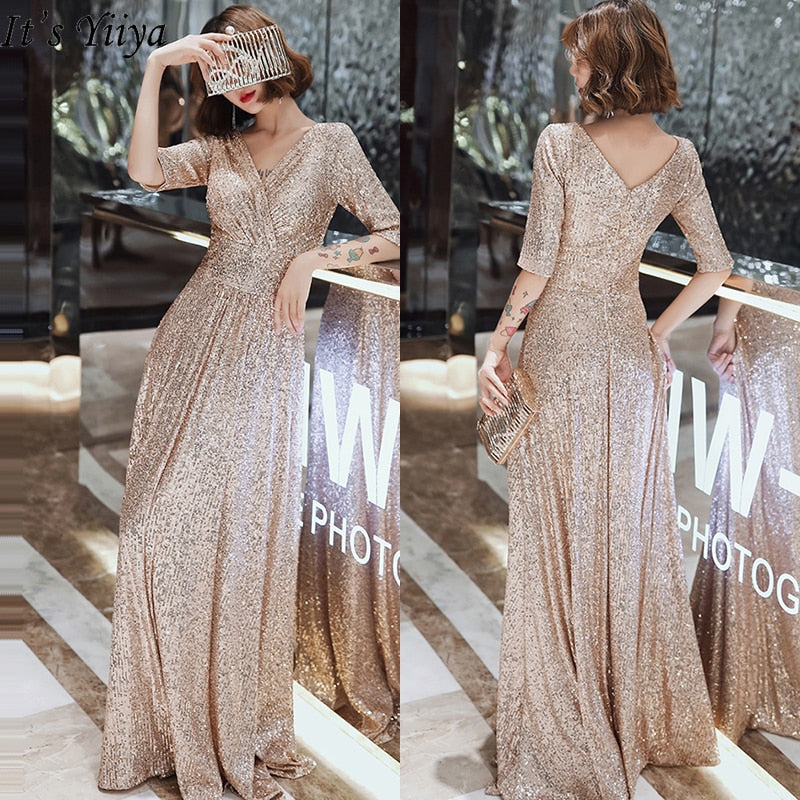 Sparkle Sequined Evening Dresses It's Yiiya K004 Double V-neck Evening Dress Elegant Robe De Soiree 2020 Plus Size Evening Gown