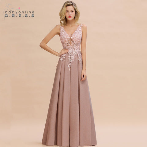 Robe de Soiree Longue Dusty Rose Lace Long Evening Dress Vestido de Festa Sexy Deep V-neck Appliques Evening Prom Gowns