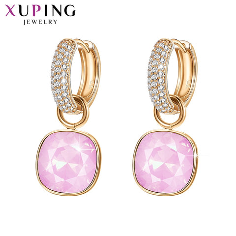 Xuping Jewelry Luxury Exquisite Crystals from Swarovski Gold Color Plated Earrings for Women Valentine's Day Gifts M65-203