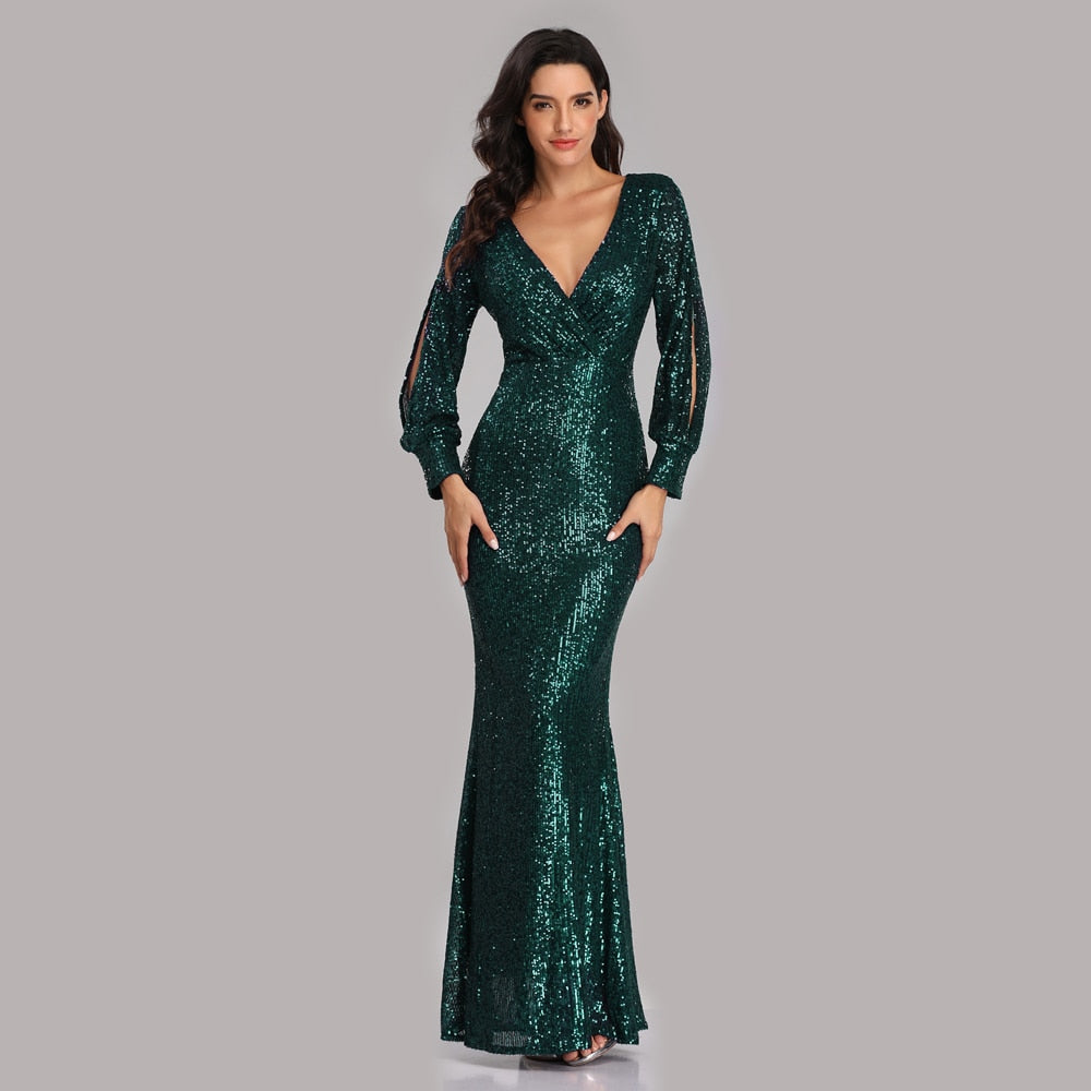 New Sexy V Neck Mermaid Evening Dress Long Formal Prom Party Gown Full Sequins long Sleeve Galadress vestidos occassion dress