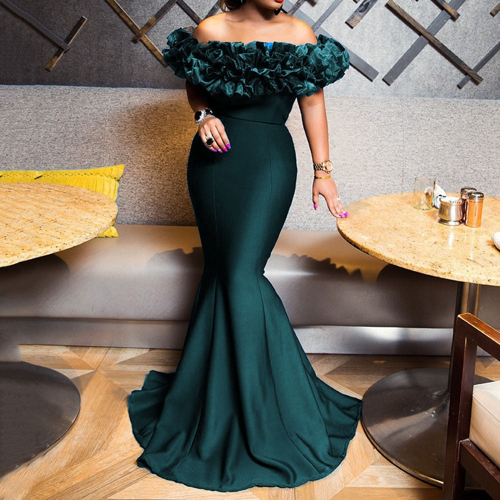 Sexy Off Shoulder Long Evening Party Dress Women Blue Bodycon Mermaid  Prom Dress Maxi African 2020 Summer Red Elegant Dresses