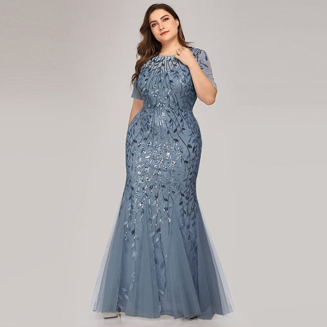 Mermaid Evening Gown It's Yiiya C545 Sparkle Sequined Tulle Robe De Soiree Long O-Neck Plus Size Short Sleeves Evening Dresses
