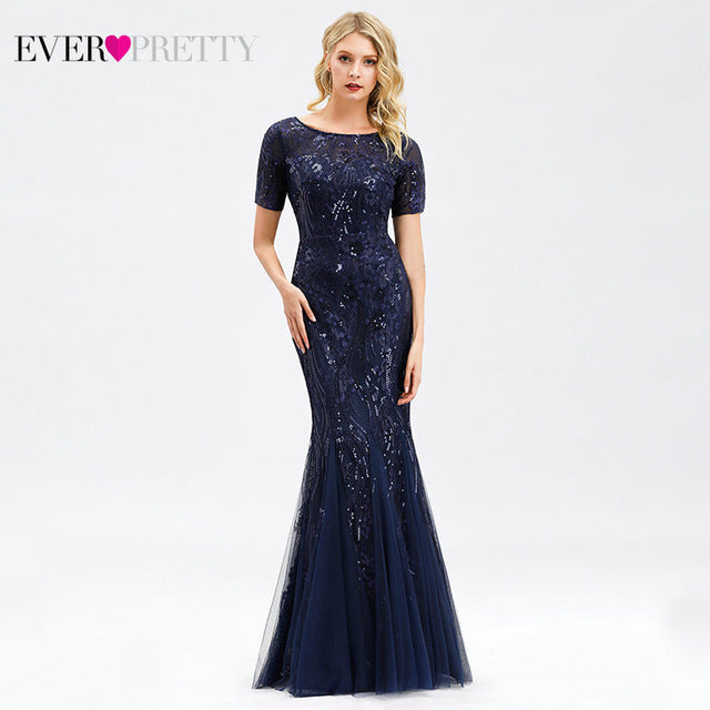 Formal Evening Dresses 2020 Ever Pretty New Mermaid O Neck Short Sleeve Lace Appliques Tulle Long Party Gowns Robe Soiree Sexy
