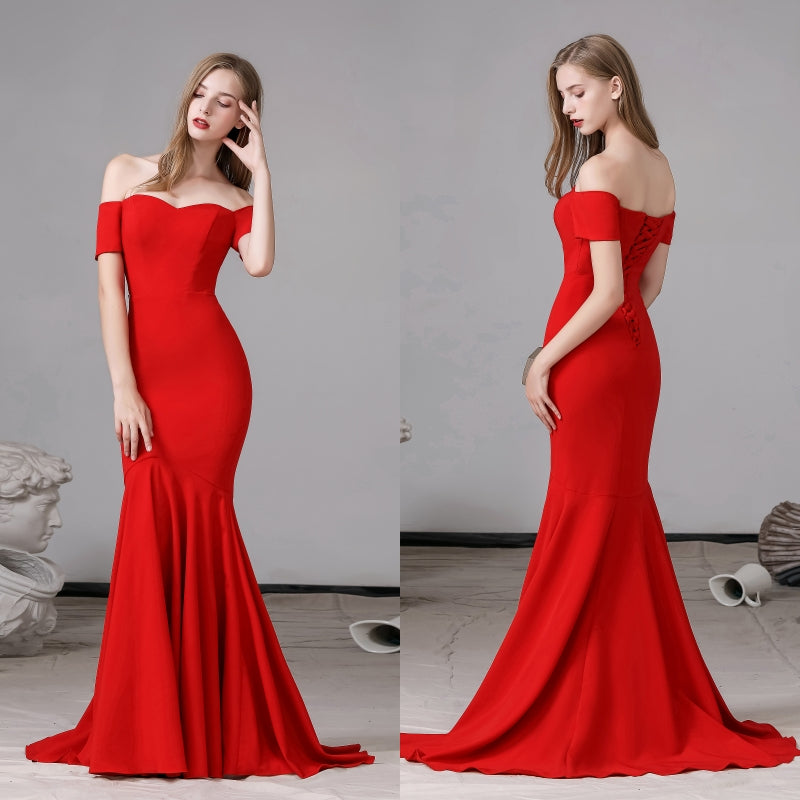 Off shoulder plain red satin mermaid evening dress prom gown