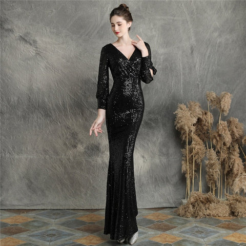 Sparkle Long Sleeves Evening Dresses It's Yiiya DX240 Plus Size Mermaid Evening Gown V-neck Sequined Elegant Robe De Soiree 2020