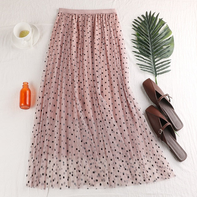 C54 Early Spring Skirt Long New Arrival 2020 Empire Slender Dot three layers Mesh Empire Skirt Young Women Summer Pleated Skirt