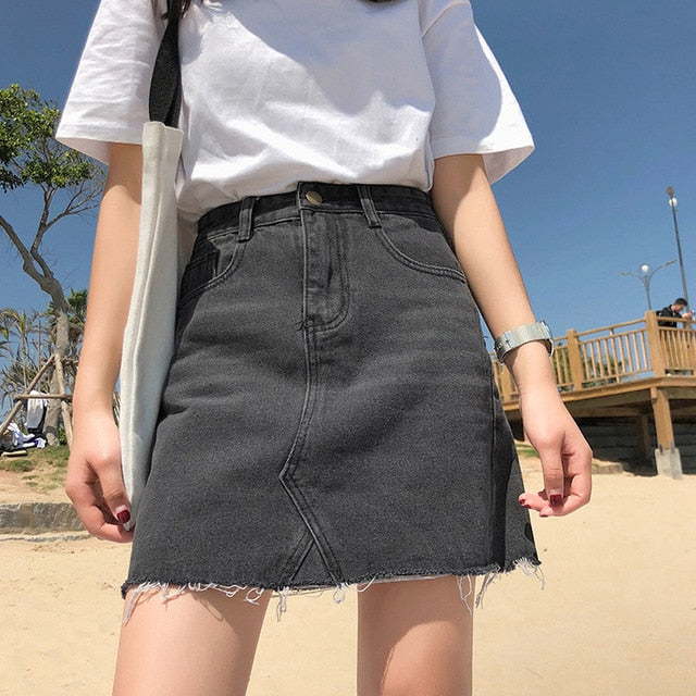 Gentillove Casual High Waist Pencil Denim Skirts Women 2019 Summer Black Blue Solid Pockets Button All-matched Jeans Skirt