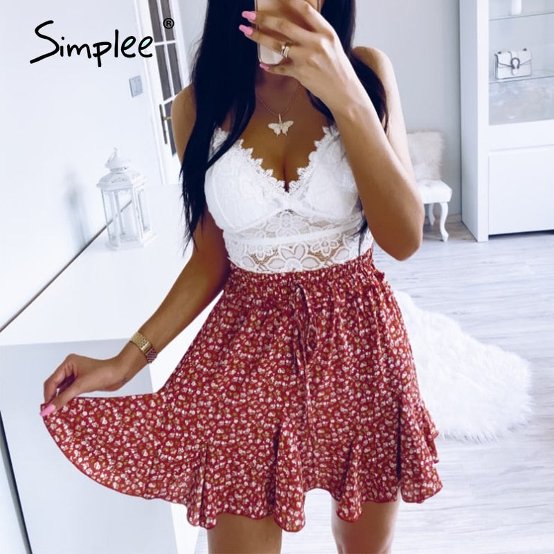 Simplee A-line skirts women Summer boho high waist ruffles floral print female skirt Casual beach wear lace up ladies mini skirt