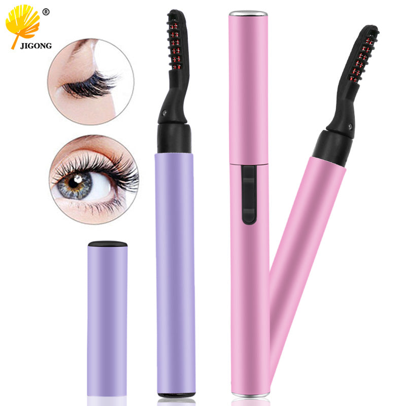 Purple Pink Portable Pen Style Electric Perm Heated Eyelash Curler Long Lasting Eye lash Curler Makeup Curling Kit For Women