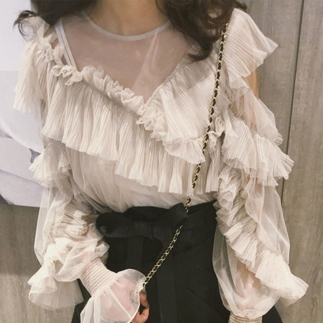 TVVOVVIN 2020 Spring Summer Fashion Women Clothes Vacation White Lotus Leaf Irregular Mesh Sweet Students Shirt Skirt Sset V045
