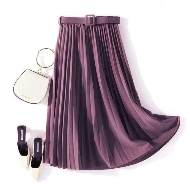 Autumn Summer women vintage elegant midi skirt with belt 2020 Women high waist pleated skirts womens lady Casual skirts female