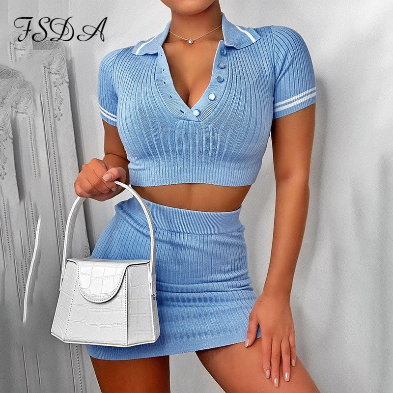 FSDA Party Two Piece Set 2020 Summer Blue Knit Crop Top V Neck Short Sleeve And Mini Bodycon Skirt Casual Women Outfit Sexy