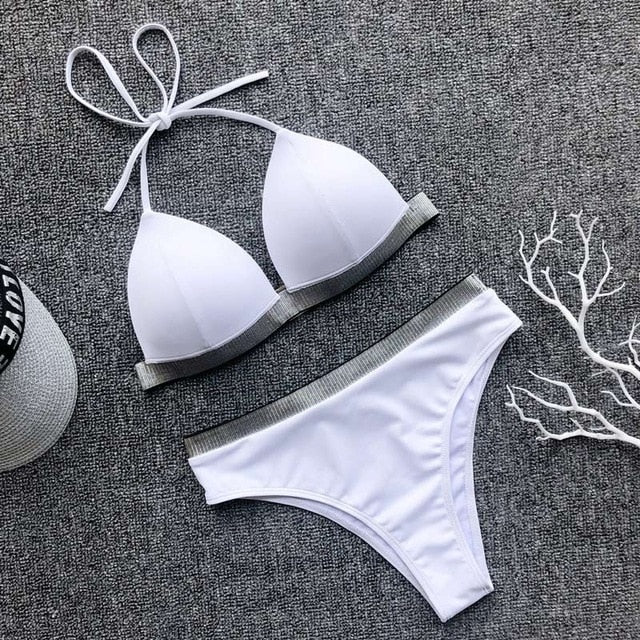 Black White High Waist Bikini 2020 Swimsuit Women Swimwear Push Up Halter Bikini Set Bather Bathing Suit Beach Wear Female