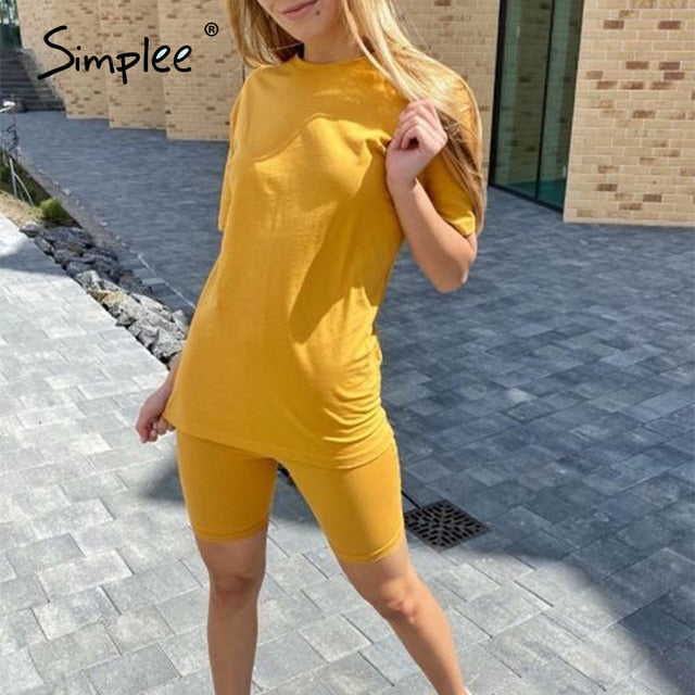 Simplee Casual solid outfits women's two piece suit with belt Home loose sports tracksuits fashion leisure bicycle suit summer