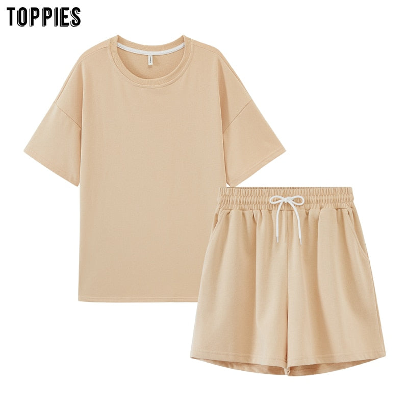 toppies summer tracksuits womens two peices set leisure outfits cotton oversized t-shirts high waist shorts candy color clothing