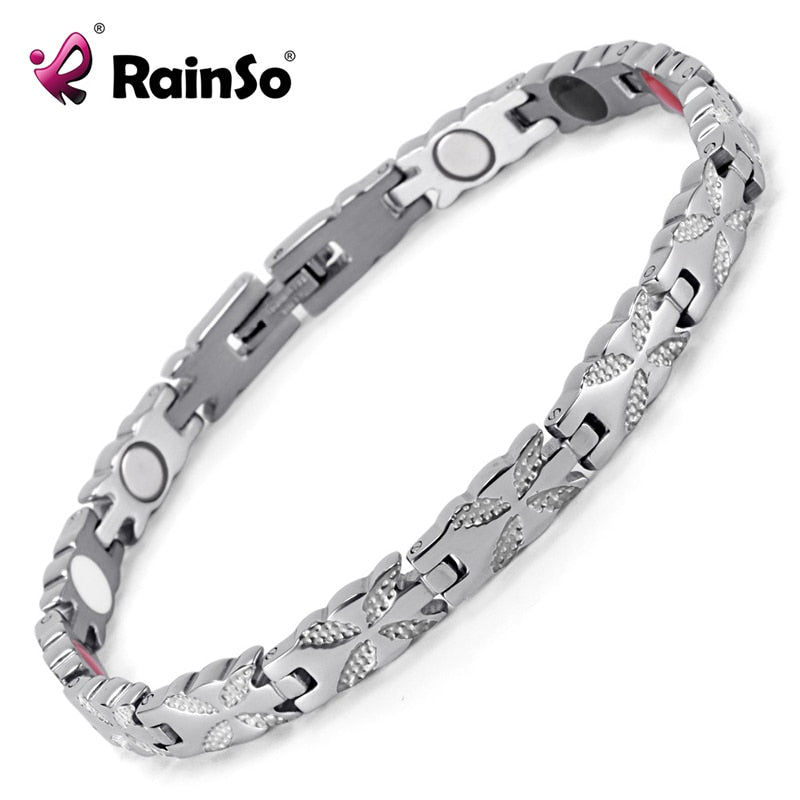 Rainso Women Jewelry Stainless Steel Healing Magnetic Bio Energy Bracelet For Women Accessory Silver Bracelets OSB-1538S