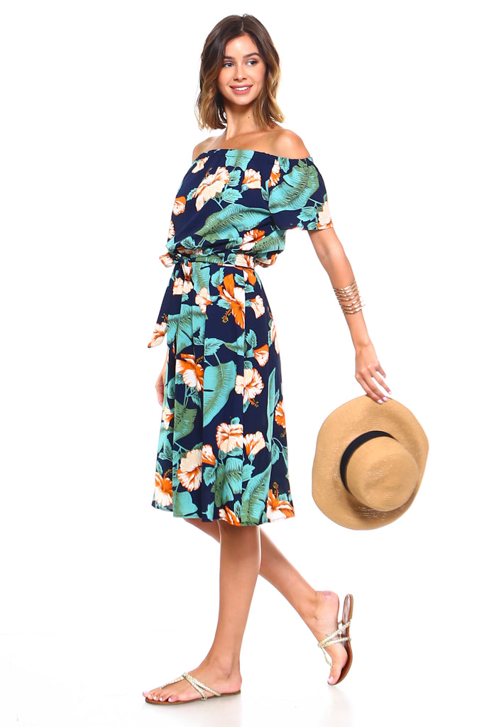 Women's Off Shoulder Floral Front Tie Dress