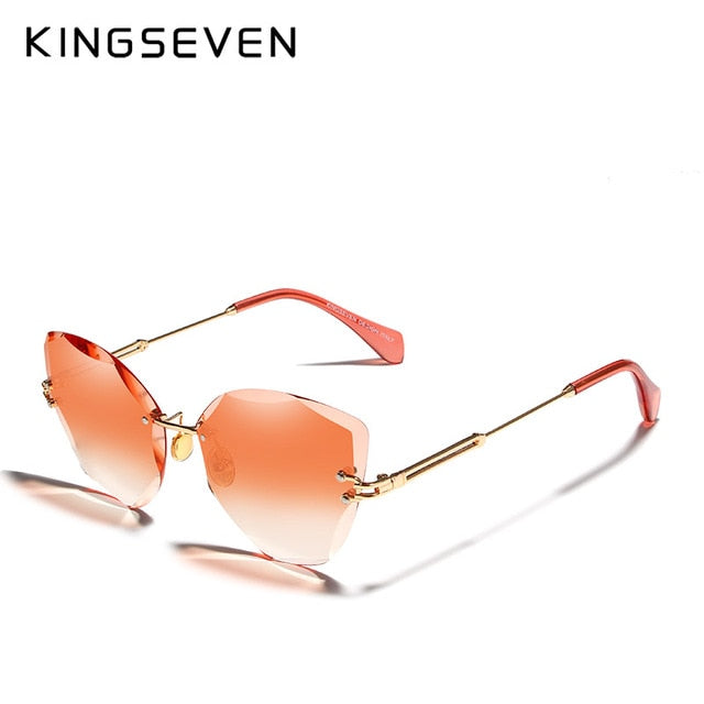 KINGSEVEN DESIGN Fashion Lady Sun glasses 2019 Rimless Women Sunglasses Vintage Alloy Frame Classic Brand Designer Shades Oculo