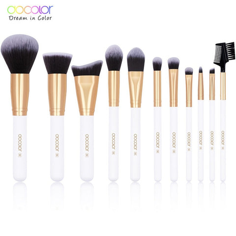 Docolor 11/15pcs Makeup Brushes Powder Foundation Eyeshadow Make Up Brushes Set Cosmetic Brushes Soft Synthetic Hair