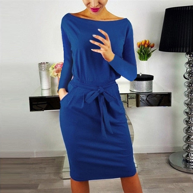 2019 Autumn Winter Dress Women Long Sleeve Black Blue Dress Casual Slim Sashes Midi Cotton Dress Plus Size Fashion Clothing 3XL