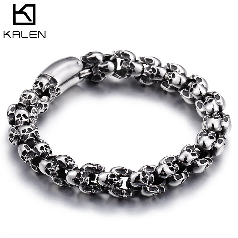 Kalen Punk 22.5cm Long Skull Bracelets For Men Stainless Steel Shiny Skull Charm Link Chain Brecelets Male Gothic Jewelry 2019