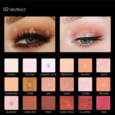Focallure Glitter Eye Shadow 18 Colors Pigment Eye Shadow Palette Waterproof Easy to Wear Shimmer Make up Eyeshadow