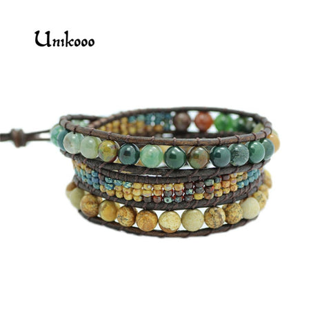 Top Quality Natural Stone 3 Layer Leather Bracelet Wrap Beaded Bracelets Wholesale Fashion Seed beads Bracelets Dropshipping