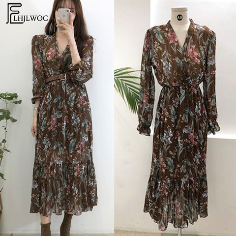 2019 Temperament Dress Women Korean Style Casual Date Wear New Year Cute Slim Waist Floral Printed Chiffon Vintage Dress Long