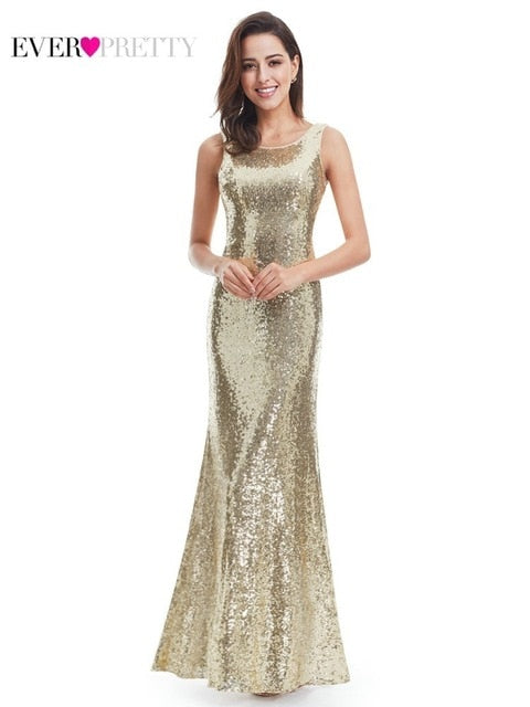 Plus Size Gold Sequined Evening Dresses Ever Pretty Mermaid V-Neck Elegant Women Formal Party Long Dresses Abendkleider 2020
