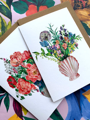 Shell Vase of Garden Blooms Card