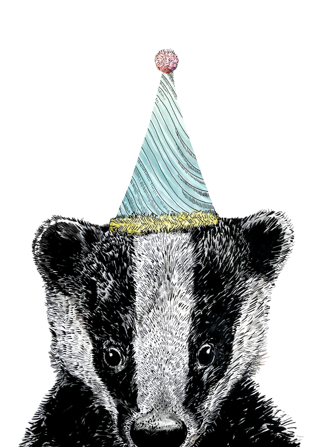 Party Badger Giclée Print