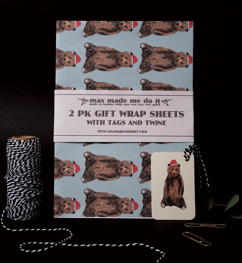Festive Bear Wrapping Paper Pack