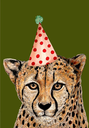 Cheetah Party Hat Green