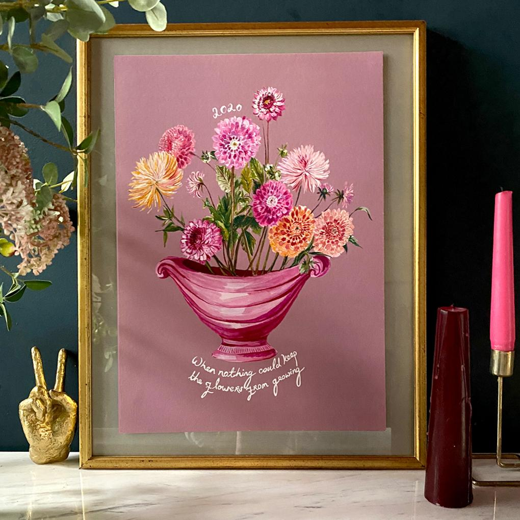 PERSONALISED Dreamy Dahlias Winter Edition Giclée Print