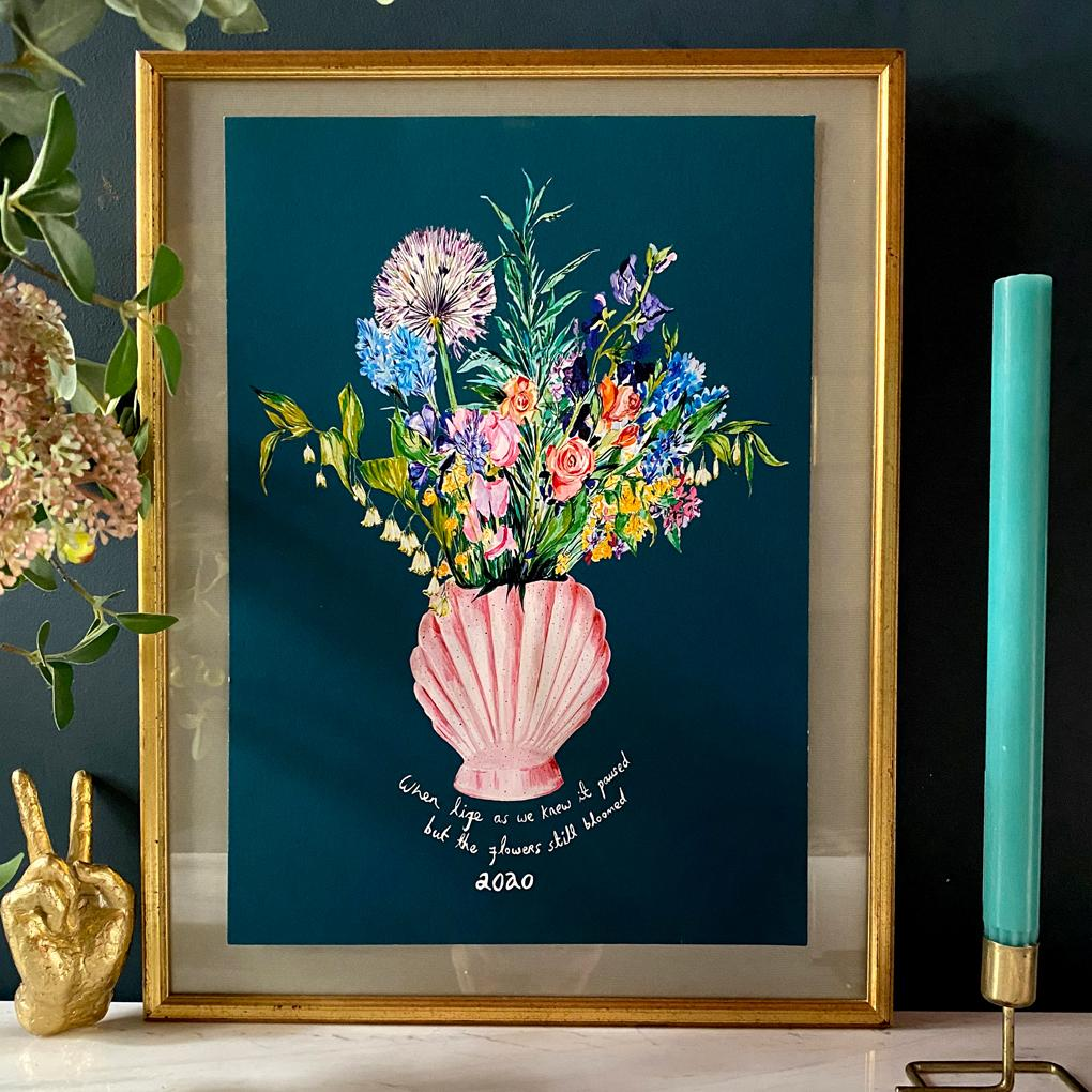 PERSONALISED Shell Vase Of Garden Blooms Winter Edition Giclée Print