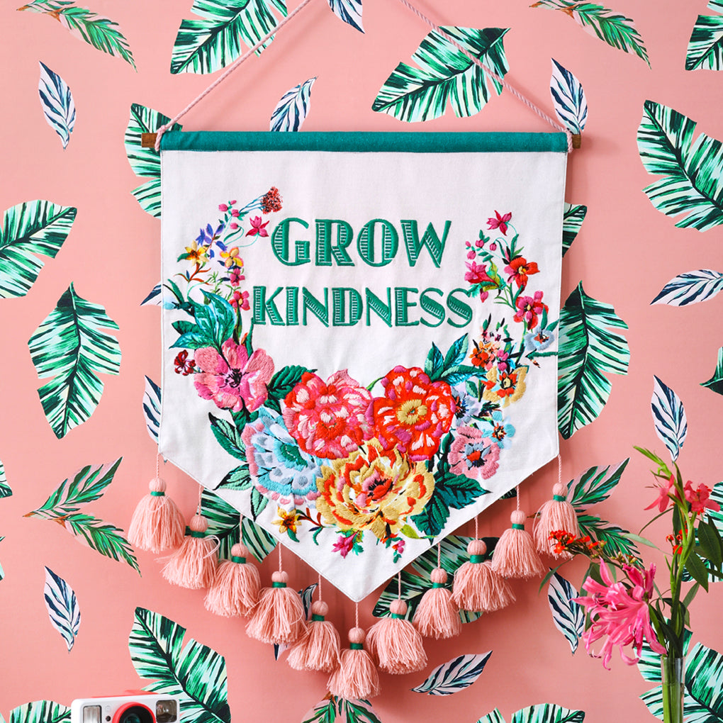 PRE-ORDER Grow Kindness Floral Embroidered Wall Hanging