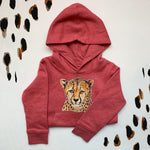 Kids Heather Cranberry Cheetah Hoodie