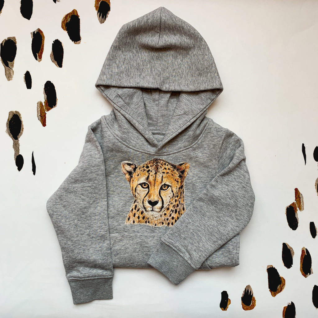 Kids Heather Grey Cheetah Hoodie